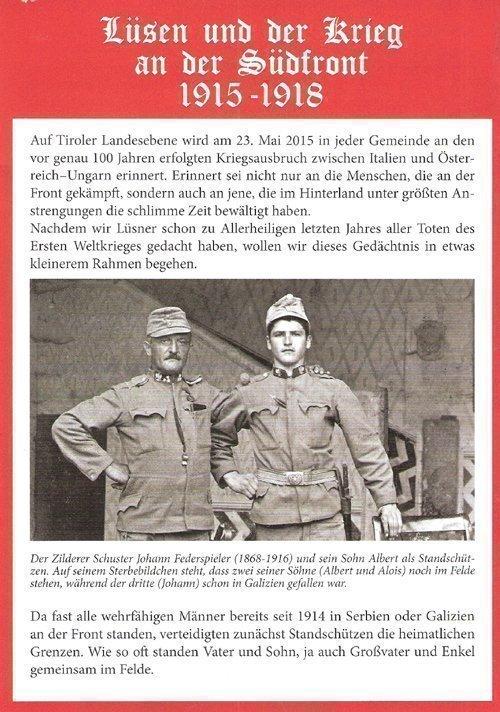 Suedfront Flyer Lüsen und der Krieg an der Südfront 1915/18